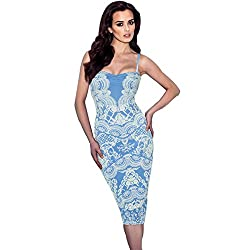 JAUNE Marble White Print on Solid Sky Blue - Slip Dress (Large, Light Blue)