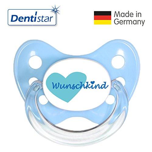 Dentistar® Silikon-Schnuller Sonderedition- Nuckel-Motiv: Wunschkind, Farbe: blau, Größe: 1 - Beruhigungs-Sauger für Junge & Mädchen von 0-6 Monaten als Geschenk zur Geburt - zahnfreundlich, BPA-frei, Greif-Ring