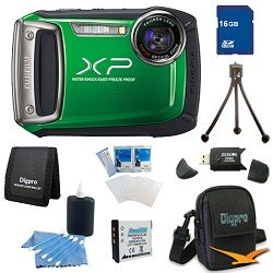 Fujifilm Finepix XP100 14MP CMOS Digital Camera 16 GB Bundle (Green)