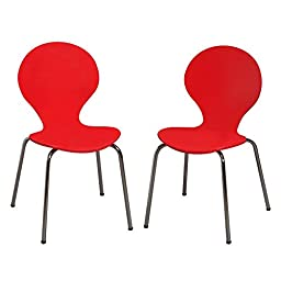 Modern Children\'s 2 Chair Set with Chrome Legs Red