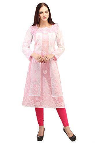 Indiankala4u Lucknowi Chikankari/Chikan HandEmbroidery Lucknowi Chikankari/Chikan Hand Embroidery Cotton Kurtis/Kurta/Tunic White& Pink