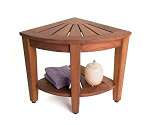 "15.5"" Teak Shower Bench With Shelf - From the Corner Collection by Aqua Teak"
