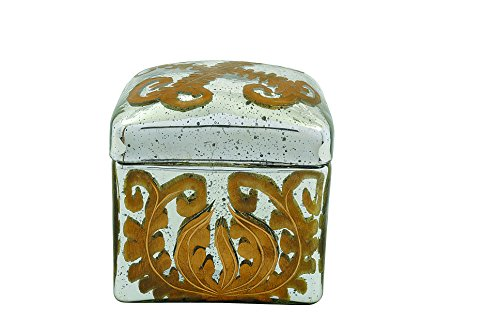 Creative Co-Op Decorative Antique Etched Mercury Glass Box, Silver and Gold