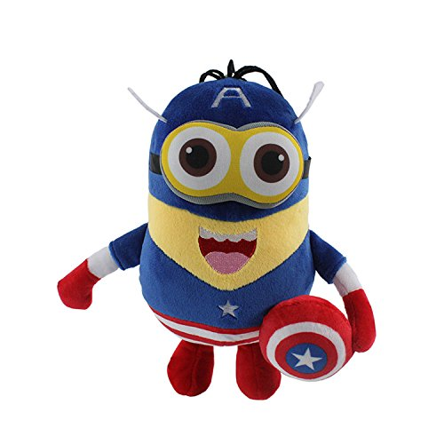 [20cm Minions Cosplay The Avengers Captain America Super Heroes Plush Toys Figure Anime Soft Stuffed Doll Gifts for Christmas, 7] (Smurf Costume Australia)