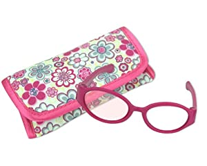"""18 Inch Doll Pink Sunglasses & Case, 2 Pc. Set, Perfect for 18"""" American Girl Dolls Clothes & More! Hot Pink Doll Glasses & Floral Print Eyeglass Case. from Sophia's"""