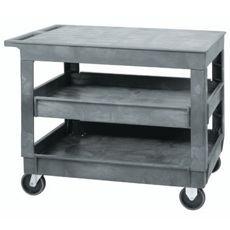 Images for Quantum PFTC4026-33 Flat Top 3-Shelf Plastic Cart, 40-Inch by 26-Inch by 33-Inch, Gray