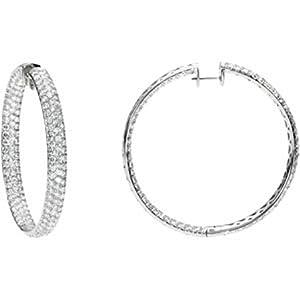 Diamond Earrings - 18k White Gold Hoops 12 1/4 Cttw