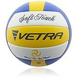 Vetra Volley-ball doux toucher Ballon de volleyball officiel taille 5 Jaune/Bleu/Blanc ou Vert/Bleu/Blanc Extérieur Intérieur plage salle de sport jeu balle New