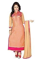 JHEENU Chiku Pink Women's Cotton unstitched Straight Salwar Suit dress material
