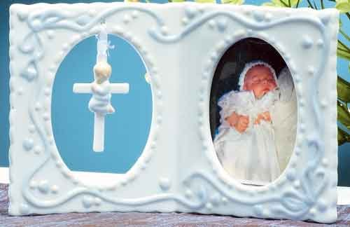 "Roman 4"" Photo Frame with Cross for Baby Girl"