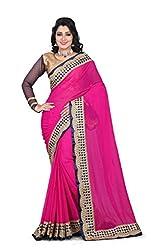 shreepati sarees PInk Chiffon Embroidered Work Party Wear Saree (SS04_Pink)