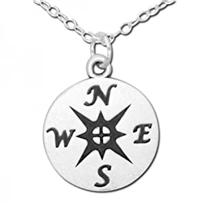 925 Sterling Silver Nautical Compass Medallion Pendant Necklace (14 Inches)