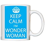 M Print Keep Calm I'M Wonder Woman Mug - Printed In Blue - 10oz