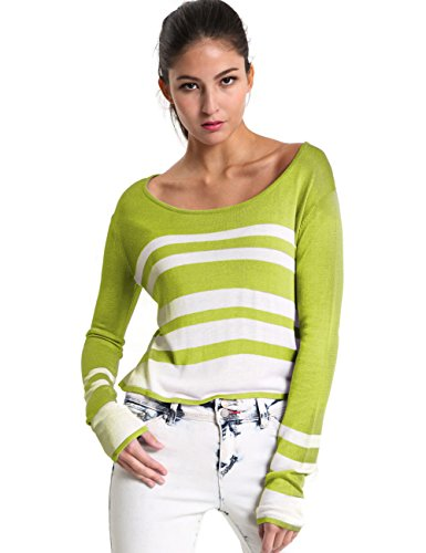 Mosocow Women's Stripe Crew Neck Long Sleeve Crop Tops Sweater Pullover Shirts S Green