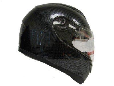Dual Visor Carbon Fiber Full Face Motorcycle Street Sport Bike Helmet DOT (Large)