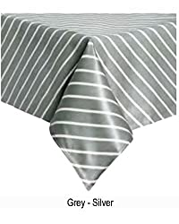 Premium Quality Vinyl Tablecloth (Plasticized Tablecloth)-100% Polyester Thick Laminated Tablecloth with PVC-Thicker and Will Last Longer Than Regular Vinyl Tablecloth-Glossy Finish (SILVER, 60 x 84)
