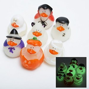 12 ct - Mini Glow-in-the-dark Halloween Rubber Ducks - size 1.25""