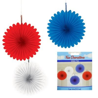 Red White and Blue Mini Hanging Fan Decorations (5ct) - 1