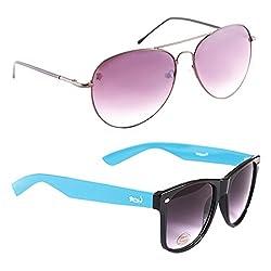 Elligator Stylish Spartiate Purple And Blue Wayfarer Sunglasses Combo ( Set of 2 )