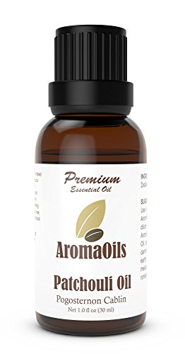 Patchouli Oil - AromaOils 1 oz (30 ml) - Best 100% Pure Therapeutic Essential Oil - Used in Aromatherapy Diffuser, additive Fragrance for Perfume or Musk, Candle, Insect Repellant, Natural Deodorant