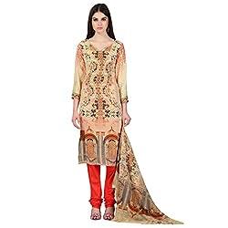 Admyrin Women Beige Crepe Dress Material