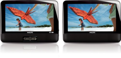 "Refurbished Philips 9"" Portable DVD Player w/ 2 Black LCD Wi"