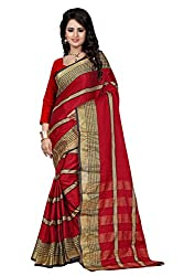 Fabcart Red Color Art Silk Saree with Blouse Piece