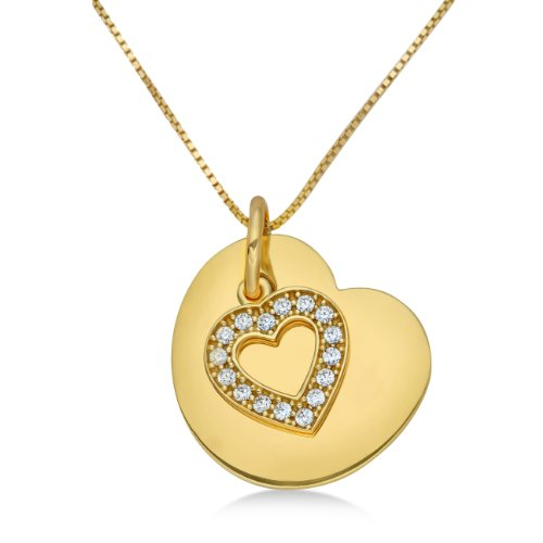 Silver Necklace  with gold colour rhodium plated , Sterling Silver, Zirconia Heart Pendant, 45cm Chain, ByJoy, JA147P