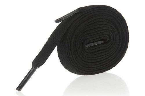 Black Shoe Laces / String - Flat Laces for Shoes, Football Trainers, High Tops & Boots 140cm