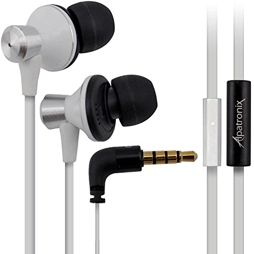 Alpatronix Ex100 High Performance In Ear Headphones With Built-In Mic And Tangle-Resistant Wired Headset Earbuds With Universal 1-Button Control / Noise-Isolation / Enhanced Bass For All Iphone Models - Iphone 5S, 5C, 5, 4S, 4 / All Ipad Models - Ipad 4 W