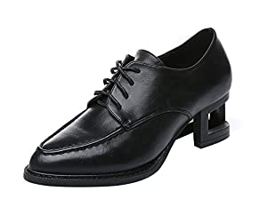 Freerun Women's Pointed Toe Lace-up Middle Heel PU Oxford Shoes (7 B(M)US,black)