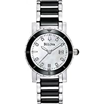 Bulova 98P122 Ladies Diamonds White Black Watch