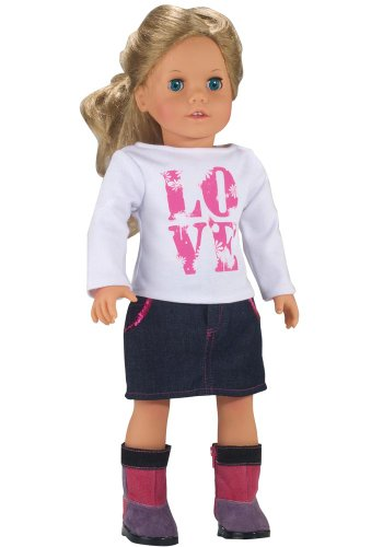 LOVE Shirt and Sequin Trim Denim Skirt, Fits 18