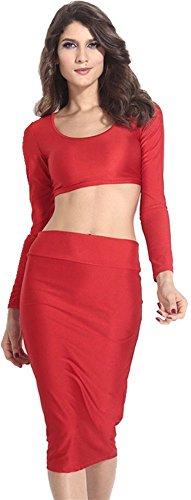 2 pezzi Estate Twin Set Outfit Crop Top Superiore Top Corti Corto e Bodycon Fascianti Aderente Abito Gonna Estate Vestito Abito Rosso M