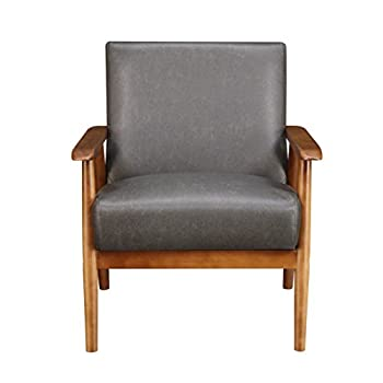 "Pulaski Wood Frame Faux Leather Accent Chair, 25"" x 28"" x 31"", Steel Grey"