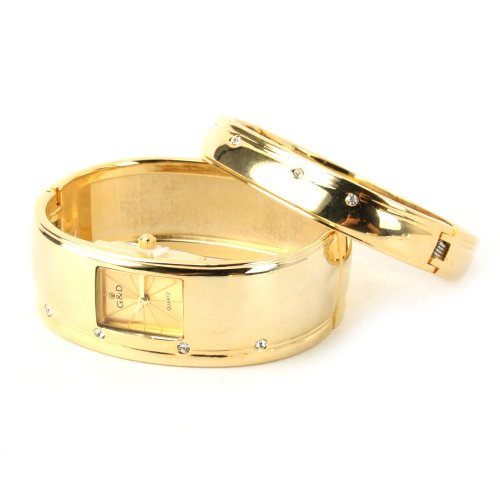 Yesurprise Rhinestone-Inlaid Alloy Lady Women Quartz Watch With Luxury Golden Dial Golden Band