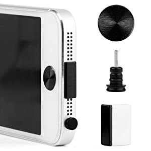 4 IN 1 Metal Anti Dust 3.5mm Earphone Ear Jack Plug Cover Cap + Docking Dock plug Stopper Cover+ Plug holder + home sticker +for Apple iPhone 5 5G / /iPad mini/iPad 4/Ipod Touch 5 / Nano 7 2012 High Quality / Black (Available in 5 Color/design)