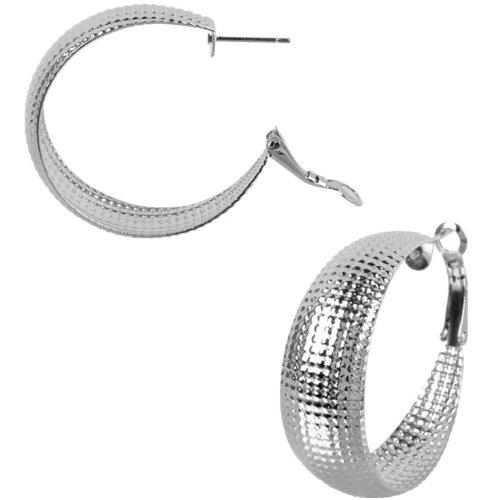 Inox Jewelry 316L Stainless Steel 35mm Textured Hoop Earrings
