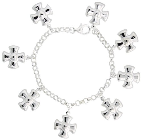 Sterling Silver Heart on Maltese Cross Charm Bracelet, 15/16