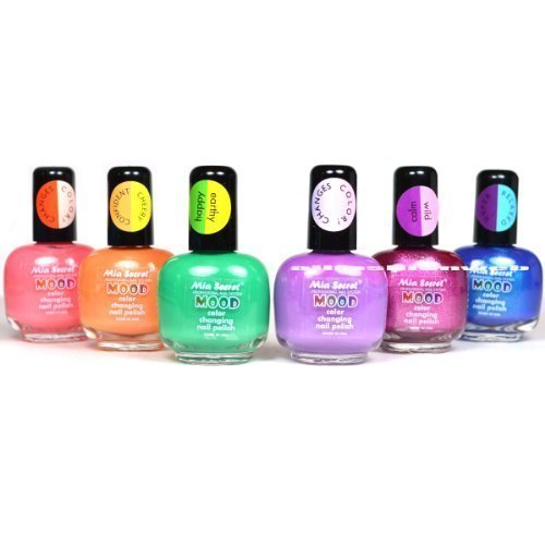 6 FULL MIA SECRET MOOD COLOR CHANGING NAIL POLISH LACQUER MD - MADE IN USA + FREE EARRING by Mia Secret (The Mood Polish compare prices)