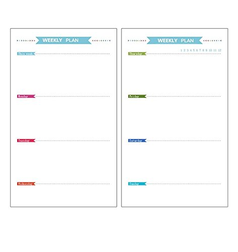 Chris-Wang 2 Sets Weekly Plan Refills Inserts Loose Leaf Filler Paper Pages for 6-Holes Binder/Journal/Dairy/Day Planner/Notebook, Track Chores, Tasks and Appointments, A6 Size (40 Sheets/Set) (Planner Calendar Inserts compare prices)