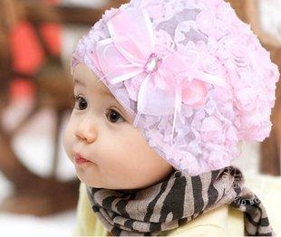 かわいい 帽子 女の子用 レース お花飾り付き 涼しい 春 夏 (ピンク)