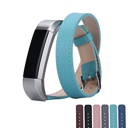fitbit-alta-watch-replacement-band-gooqr-small-mint-green-soft-leather-smart-watch-replacement-strap