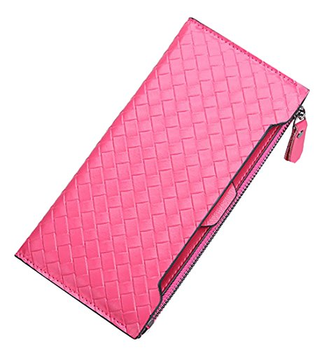 Heshe Leather Ol New Fashion Double Use Purse Case Long Card Holder Bag Candy Color Zippered Closure Clutch Wallet for Women