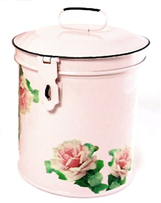 Retro Vintage Canister Set ~ Kitchen Storage Canisters E8 Decorative Containers ~ Shabby Chic Pink Enamel with Shabby Antique Rose 1