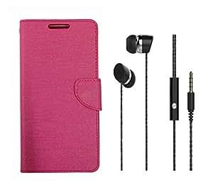 Fabson Infocus Bingo 50 Flip Cover Pink With 3.5 MM Black Premium Earphones - Combo