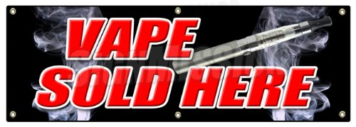 "72"" Vape Sold Here Banner Sign Vapor Pen Liquid Flavors Smoke Smoker Hookah"