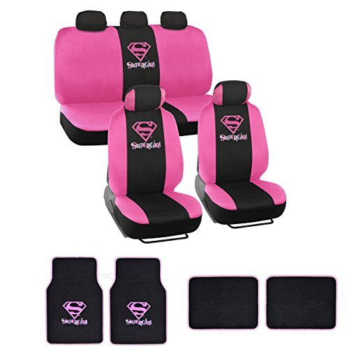 warner-brothers-supergirl-seat-cover-floor-mat-for-car-universal-fit-auto-accessories-w-belt-pad-ste