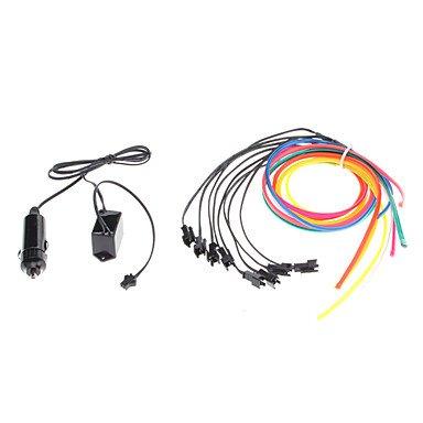 1 mètre Flexible voiture décoratifs Neon Light 4mm EL Wire Rope avec inverseur de voiture de lumière , Yellow