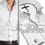 トレボットーニ・センターボタンダウンドレスシャツ(ダブルカフス)/ホワイト(シルバークリスタルリボン)【Le orme】日本製・長袖・メンズワイシャツ・カフスボタン2個付き(JS-9587-1)